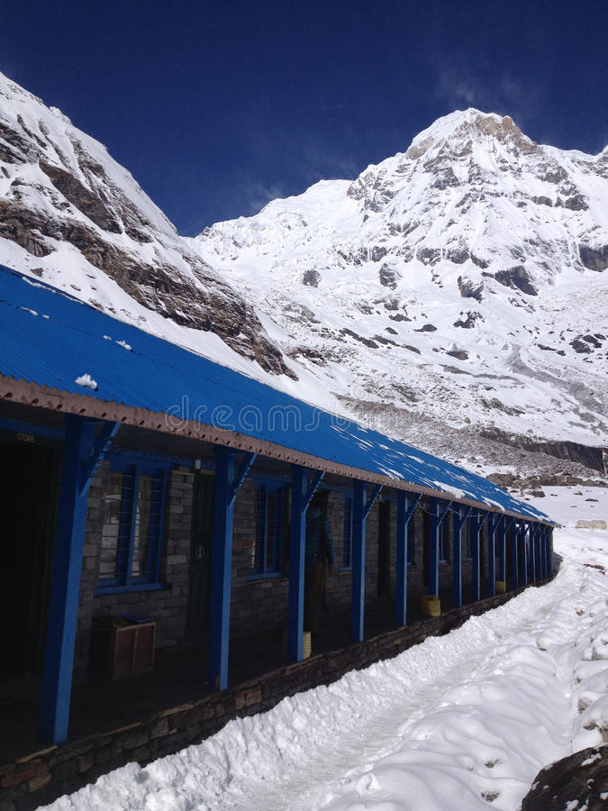 Πανσιόν στο νότο Annapurna και το στρατόπεδο βάσεων στοκ εικόνες