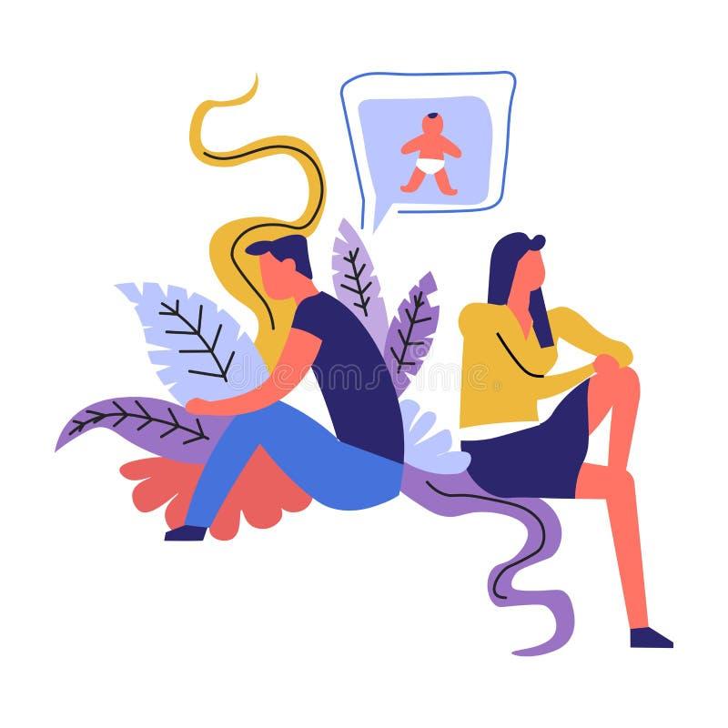 Παντρεμένο ζευγάρι στην πάλη, άνδρας και γυναίκα που σκέφτονται για το μωρό απεικόνιση αποθεμάτων