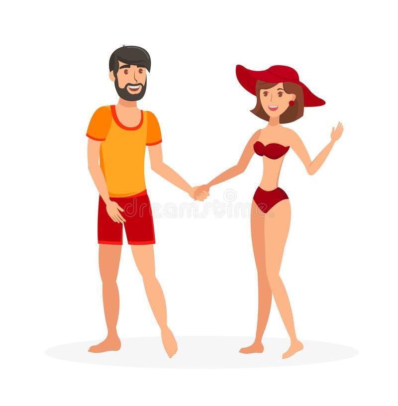 Παντρεμένο ζευγάρι στη διανυσματική απεικόνιση Beachwear ελεύθερη απεικόνιση δικαιώματος