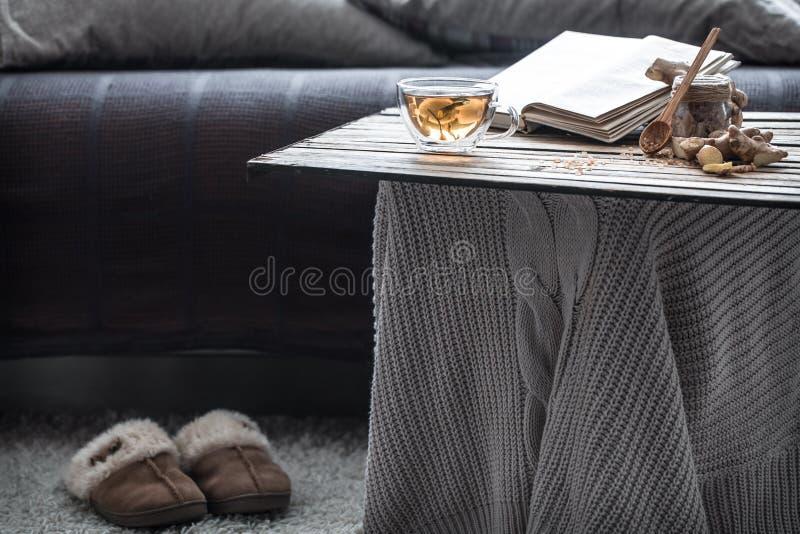 Παντόφλες στο καθιστικό από τον καναπέ στοκ εικόνες