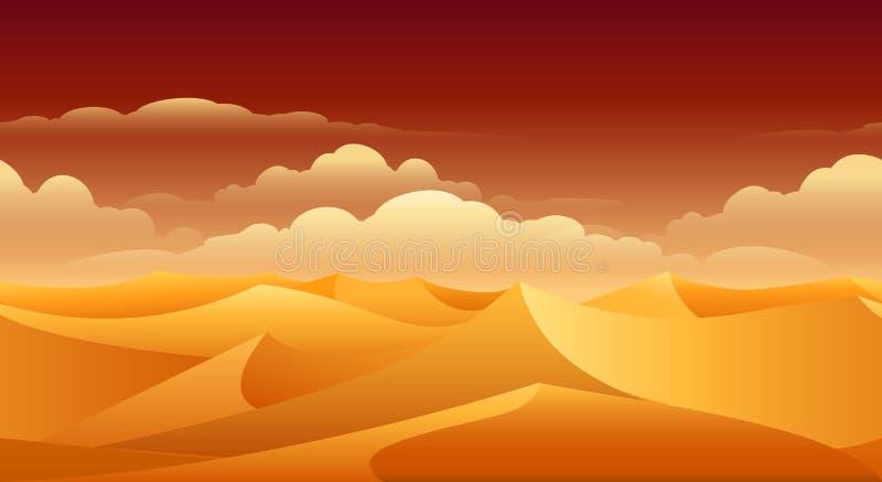 Πανόραμα αμμόλοφων άμμου Σαχάρας διανυσματική απεικόνιση