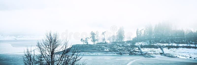 Πανόραμα, γερμανικό schluchsee λιμνών στο χειμώνα με τον πάγο και ομίχλη, υπόβαθρο διακοπών στοκ εικόνες
