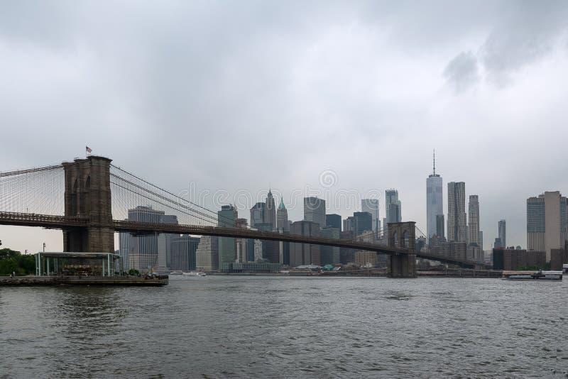 Πανόραμα γεφυρών του Μπρούκλιν από τον ανατολικό ποταμό στοκ φωτογραφίες με δικαίωμα ελεύθερης χρήσης
