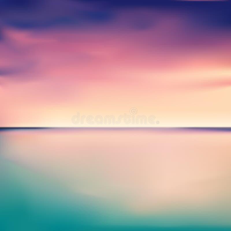 Πανόραμα ενός ηλιοβασιλέματος στη θάλασσα ή τον ωκεανό, διάνυσμα ελεύθερη απεικόνιση δικαιώματος