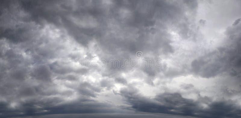 Πανόραμα ενός θλιβερού ουρανού με τα σύννεφα θύελλας στοκ φωτογραφία με δικαίωμα ελεύθερης χρήσης