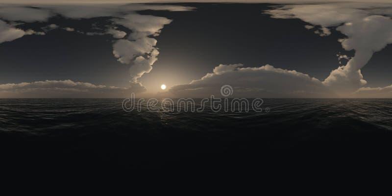 Πανόραμα επάνω από τον ωκεανό στο ηλιοβασίλεμα στοκ εικόνα με δικαίωμα ελεύθερης χρήσης