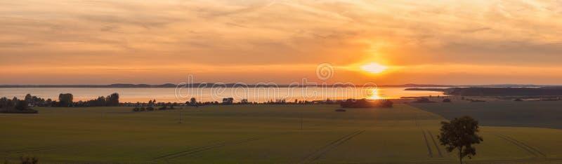 Πανόραμα ηλιοβασιλέματος Ruegen στοκ εικόνες με δικαίωμα ελεύθερης χρήσης