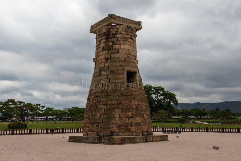 Πανόραμα κορεατικού ιστορικού Cheomseongdae το παλαιότερο επιζόν αστρονομικό παρατηρητήριο στην Ασία Εθνική κληρονομιά προηγούμεν στοκ εικόνες