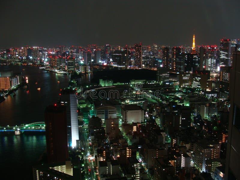 Πανόραμα νύχτας της πόλης του Τόκιο με τους ουρανοξύστες και του κόλπου του Τόκιο στοκ εικόνες με δικαίωμα ελεύθερης χρήσης