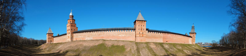 Πανόραμα οι τοίχοι του Κρεμλίνου σε Novgorod το μεγάλο Veliky Novgorod, Ρωσία στοκ εικόνες