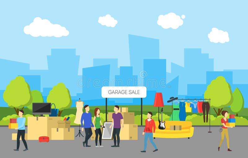 Πανόραμα πόλεων κινούμενων σχεδίων και πώληση γκαράζ διάνυσμα διανυσματική απεικόνιση