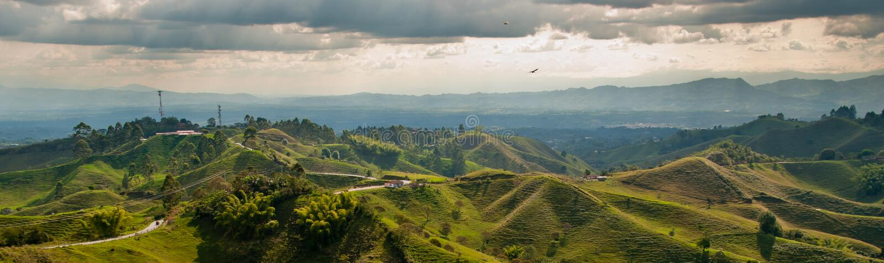Πανόραμα στην περιοχή τριγώνων καφέ της Κολομβίας στοκ φωτογραφία