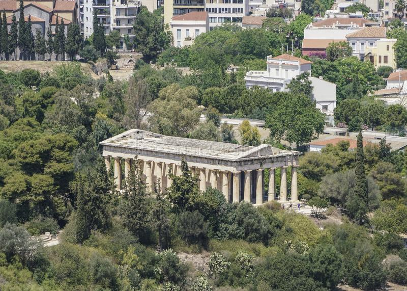 Πανόραμα της Αθήνας, άποψη της αγοράς και του ναού στην Ελλάδα στοκ εικόνες