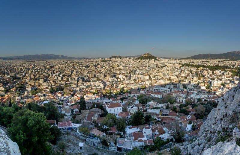 Πανόραμα της Αθήνας, Ελλάδα από την ακρόπολη στοκ φωτογραφίες με δικαίωμα ελεύθερης χρήσης