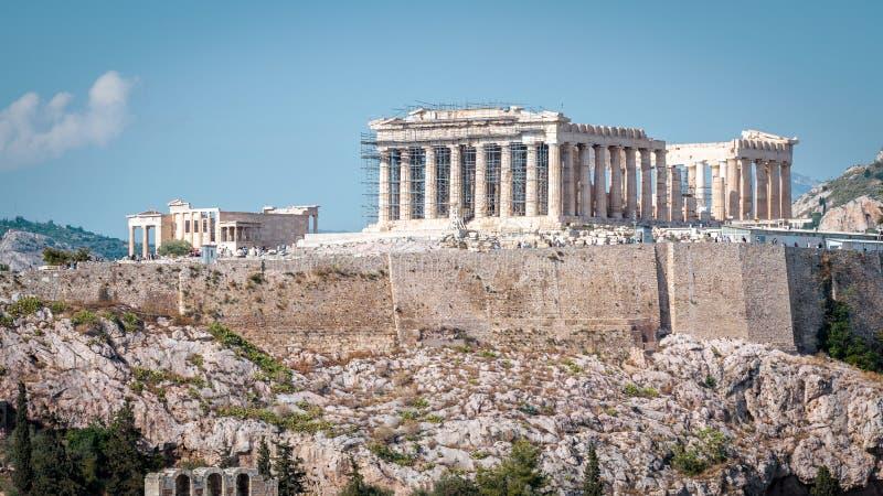 Πανόραμα της ακρόπολη με Parthenon, Αθήνα, Ελλάδα στοκ φωτογραφία με δικαίωμα ελεύθερης χρήσης