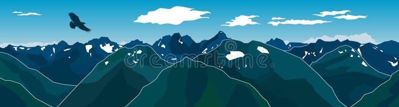 Πανόραμα της αλυσίδας βουνών με τον πετώντας αετό διανυσματική απεικόνιση