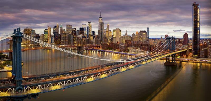 Πανόραμα της γέφυρας του Μπρούκλιν στοκ εικόνες με δικαίωμα ελεύθερης χρήσης