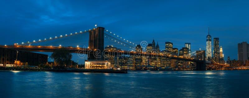 Πανόραμα της γέφυρας του Μπρούκλιν, NYC στοκ εικόνα