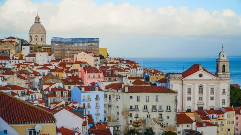 Πανόραμα της Λισσαβώνας εναέρια όψη Η Λισσαβώνα είναι η πρωτεύουσα και η μεγαλύτερη πόλη της Πορτογαλίας Η Λισσαβώνα είναι ηπειρω στοκ φωτογραφίες με δικαίωμα ελεύθερης χρήσης