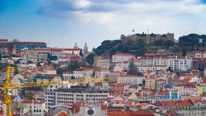Πανόραμα της Λισσαβώνας εναέρια όψη Η Λισσαβώνα είναι η πρωτεύουσα και η μεγαλύτερη πόλη της Πορτογαλίας Η Λισσαβώνα είναι ηπειρω στοκ εικόνες με δικαίωμα ελεύθερης χρήσης