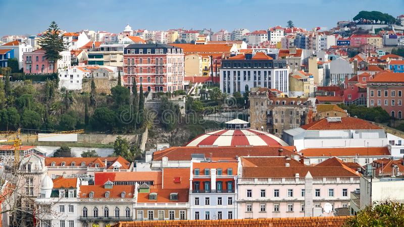 Πανόραμα της Λισσαβώνας εναέρια όψη Η Λισσαβώνα είναι η πρωτεύουσα και η μεγαλύτερη πόλη της Πορτογαλίας Η Λισσαβώνα είναι ηπειρω στοκ φωτογραφία με δικαίωμα ελεύθερης χρήσης