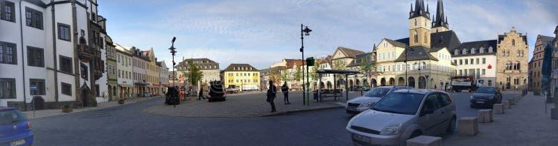 Πανόραμα της μικρής αγοράς Saalfeld πόλεων στοκ εικόνα