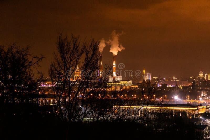 Πανόραμα της Μόσχας τη νύχτα στοκ φωτογραφία