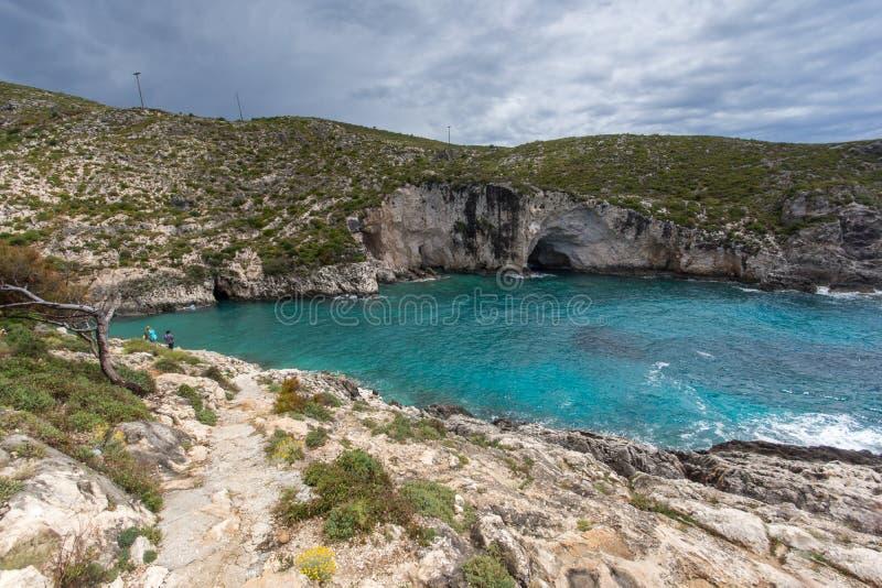 Πανόραμα της παραλίας Limnionas στο νησί της Ζάκυνθου, Ελλάδα στοκ εικόνα