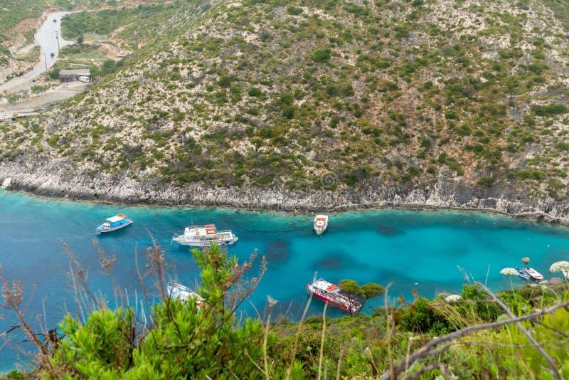 Πανόραμα της παραλίας Stenitis στο νησί της Ζάκυνθου, Ελλάδα στοκ εικόνες με δικαίωμα ελεύθερης χρήσης