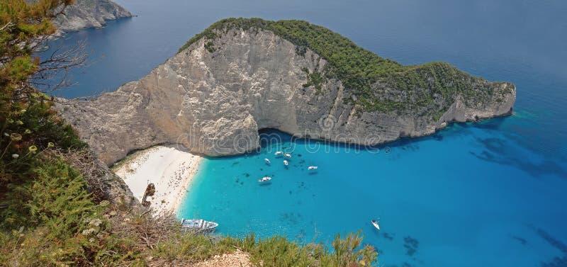Πανόραμα της παραλίας Navagio στο νησί Ελλάδα της Ζάκυνθου στοκ φωτογραφία με δικαίωμα ελεύθερης χρήσης