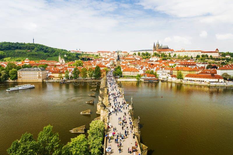 Πανόραμα της Πράγας, άποψη της γέφυρας του Charles, το τσεχικό Republ στοκ φωτογραφία με δικαίωμα ελεύθερης χρήσης