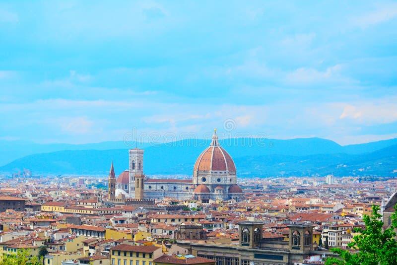 Πανόραμα της Φλωρεντίας με Palazzo Vecchio και τη Σάντα Μαρία del Fiore στοκ εικόνες