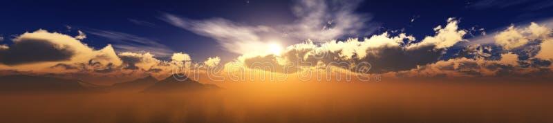 Πανόραμα του ηλιοβασιλέματος εν πλω, ωκεάνια ανατολή απεικόνιση αποθεμάτων