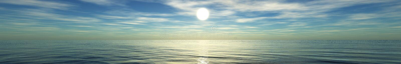 Πανόραμα του ηλιοβασιλέματος εν πλω, ωκεάνια ανατολή διανυσματική απεικόνιση