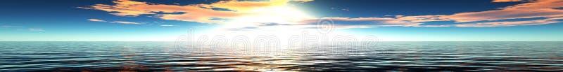 Πανόραμα του ηλιοβασιλέματος θάλασσας απεικόνιση αποθεμάτων