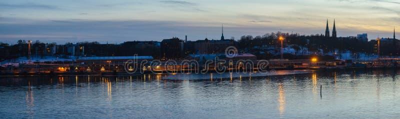 Πανόραμα του λιμανιού πόλεων του Ελσίνκι στοκ φωτογραφία με δικαίωμα ελεύθερης χρήσης