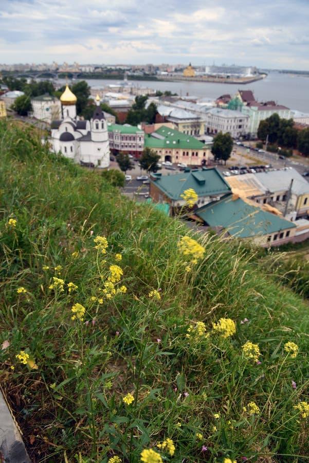 Πανόραμα του ιστορικού κέντρου πόλεων σε Nizhny Novgorod, Ρωσία στοκ εικόνα