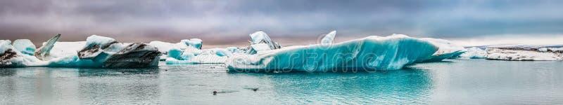 Πανόραμα του κόλπου πάγου στην Ισλανδία στοκ εικόνες