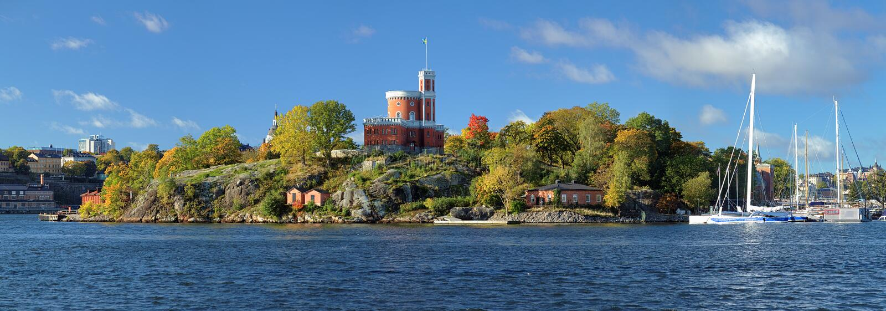 Πανόραμα του νησιού Kastellholmen με το μικρό Castle στη Στοκχόλμη στοκ εικόνα με δικαίωμα ελεύθερης χρήσης