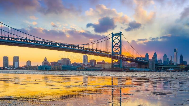 Πανόραμα του ορίζοντα της Φιλαδέλφειας με τη γέφυρα και το pe του Ben Franklin στοκ φωτογραφία με δικαίωμα ελεύθερης χρήσης