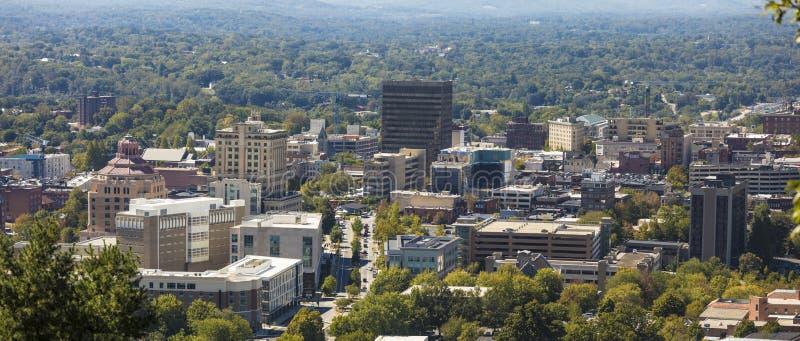 Πανόραμα του στο κέντρο της πόλης Άσβιλλ, βόρεια Καρολίνα στοκ φωτογραφία