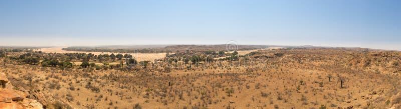 Πανόραμα του τοπίου ερήμων με την ξηρά κοίτη του ποταμού στο εθνικό πάρκο Mapungubwe, Νότια Αφρική στοκ εικόνες