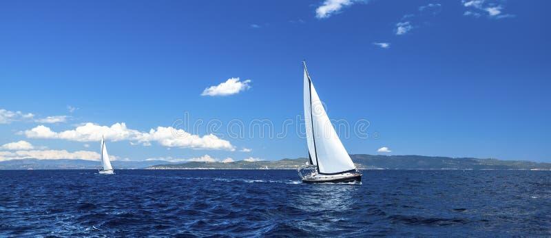 Πανόραμα του regatta ναυσιπλοΐας Σειρές των γιοτ πολυτέλειας στην αποβάθρα μαρινών Φύση στοκ εικόνες