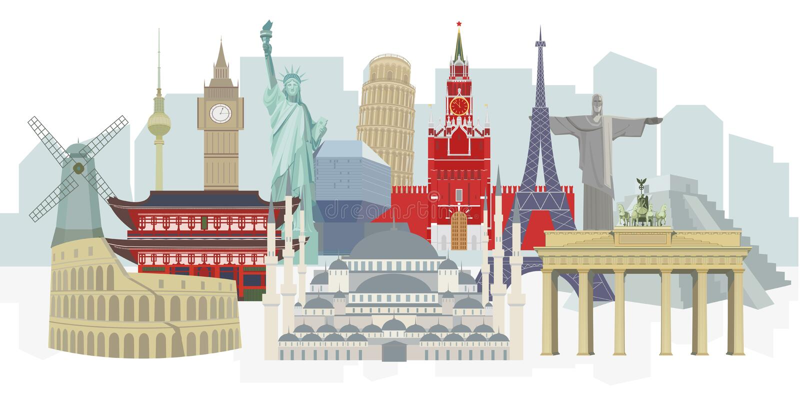 Πανόραμα των παγκόσμιων αρχιτεκτονικών ορόσημων, λεπτομερής διάνυσμα έγχρωμη εικονογράφηση για το σχέδιο απεικόνιση αποθεμάτων