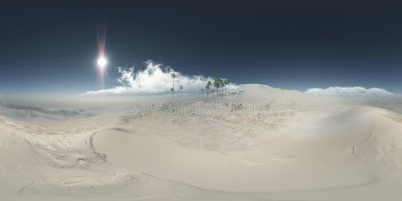 Πανόραμα των φοινικών στην έρημο στην αμμοθύελλα στοκ εικόνα