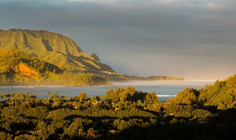 Πανόραμα Hanalei στο νησί Kauai στοκ εικόνα