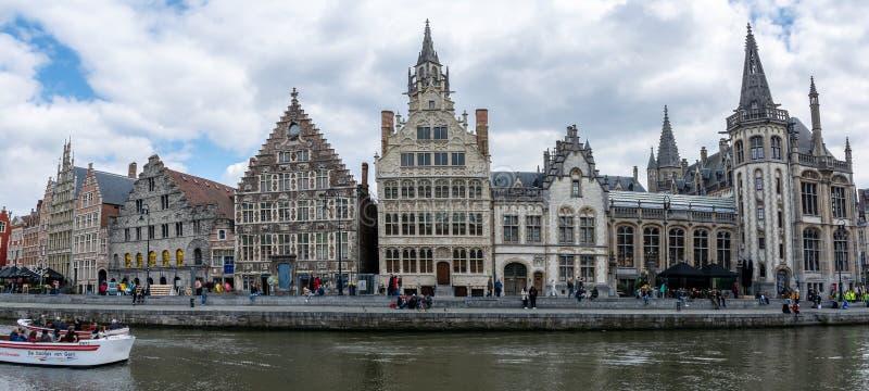 Πανόραμα LE Graslei στη Γάνδη, Βέλγιο στοκ φωτογραφίες με δικαίωμα ελεύθερης χρήσης