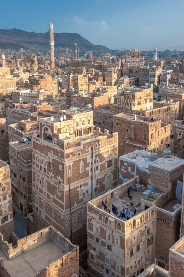 Πανόραμα Sanaa, Υεμένη στοκ φωτογραφίες