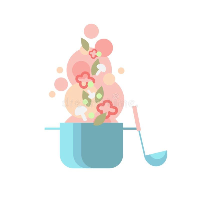 Παν κουτάλα σούπας κουζινών μαγείρων με τα λαχανικά απεικόνιση αποθεμάτων