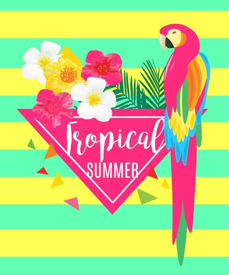 Παπαγάλος, εξωτικοί λουλούδια και ανανάς ελεύθερη απεικόνιση δικαιώματος